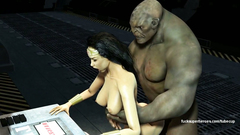 Hungry muscular 3D Orc fucks Wonderwoman in her mouth and pussy