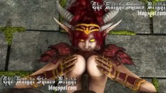 Busty night Elf redhead girl get fucking between her tits