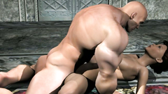 Muscular 3d male fucks mouth of a cute girl in hardcore way