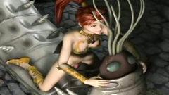 Sexy 3d girl is getting impregnated by a horny bug-like monster