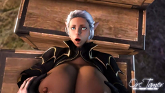 This elf girl has really huge tits in 3d toon