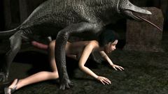 Chunky 3D monster crocodile fucked in pussy black-haired beauty