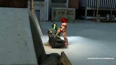 The Rockman is lickng pussy of Hulk-woman and fucks her tight ass