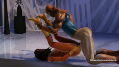 Spiderman and dirty thug fucks Spiderwoman in her anal and pussy holes