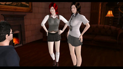 3D Hermione Granger and Ginevra Weasley gently suck Harry Potter dick