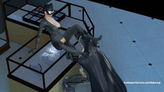 Batman makes Catwoman deep swallow his dick