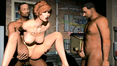 Redhead woman gets extremely hard BDSM fucking from two dirty guys