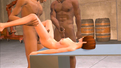 Two perverts fuck his big cock redhead 3D innocent girl