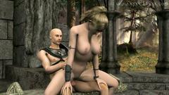 XXX Blonde Elf girl in sexy armor makes hard blowjob