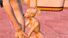 Amazing 3D skinny Elf blonde teen sucks dick