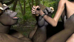 Many horny 3d gorillas fuck hottie and double penetrate her sexy holes