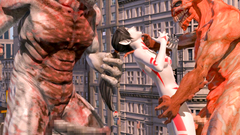 Kinky girl Lumina in extreme holes bang vs three 3D Monsters   Lumina vs 3