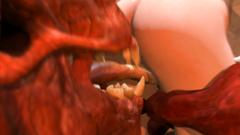 Big and brutal monster licks wet vagina of young slim girl