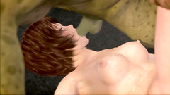 Huge goblins fuck a poor young 3d babe in all holes