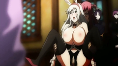 Hot BDSM cartoon with busty babe spreading her long legs wide