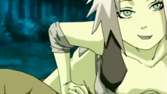 Horned Sakura deeply swallows Naruto dick in a dark forest