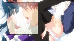 Young long-haired maid shows her huge and massive breasts