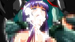 Sweet hentai girls takes bukkake on her knees