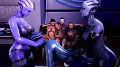 Crazy threesome fuck somewhere on the space ship