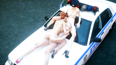 3some futanari fuck on the police car in the middle of the city