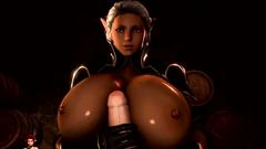 Big breasted elf jerks off cock till jizz shot