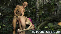 Forest elf hardcore fucked by evil weird creature