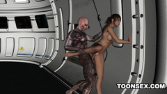 Exotic 3d babe with bronze skin get drilled on the space ship
