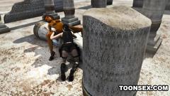 Lara Croft and her new lesbian friend in 3d cartoon
