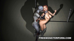 Busty 3d girl attacked and fucked by zombie