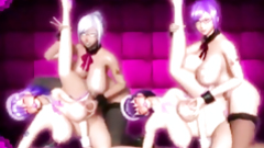 Busty shemale anime maids foursome fucked