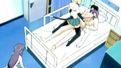 Bondage anime with muzzle threesome fucked