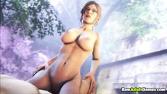 Hot Lara Croft fucked by huge cocks compilation